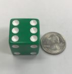 d6 6 Sided 25mm Green White Dice - DiceEmporium.com