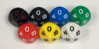 Koplow 10 Sided Opaque dice with numbers - available in 7 different colors