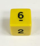 6 Sided Yellow/black Opaque Dice from Koplow