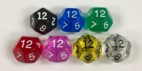 Koplow 12 Sided Transparent dice with numbers - available in 7 different colors