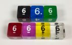 Koplow 6 Sided Transparent dice with numbers - available in 7 different colors