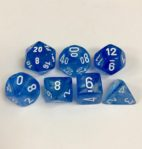 Signature Borealis Sky Blue with White Numbers. Polyhedral 7 Die Set from Chessex