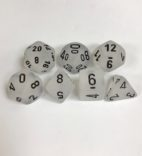 Signature Frosted Clear with Black Numbers. Polyhedral 7 Dice Set from Chessex
