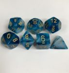 Signature Phantom Teal with Gold Numbers. Polyhedral 7 Die Set from Chessex