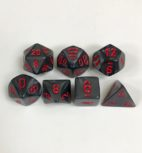 Signature Velvet Black with Red Numbers. Polyhedral 7 Dice Set from Chessex
