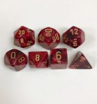Signature Vortex Burgandy with Gold Numbers. Polyhedral 7 Dice Set from Chessex