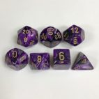 Signature Vortex Purple with Gold Numbers. Polyhedral 7 Die Set from Chessex