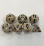 Signature Marble Ivory with black Numbers. Polyhedral 7 Die Set from Chessex
