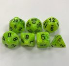 Signature Vortex Bright Green with Black Numbers. Polyhedral 7 Die Set from Chessex
