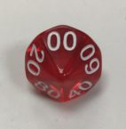 10 Sided Tens d10 HD Clear Red White Dice - DiceEmporium.com