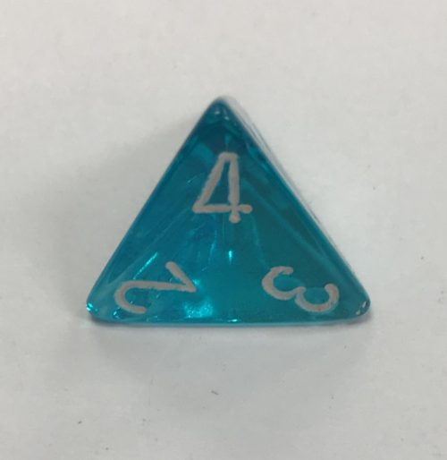 4 Sided Clear Teal White Chessex Dice - DiceEmporium.com